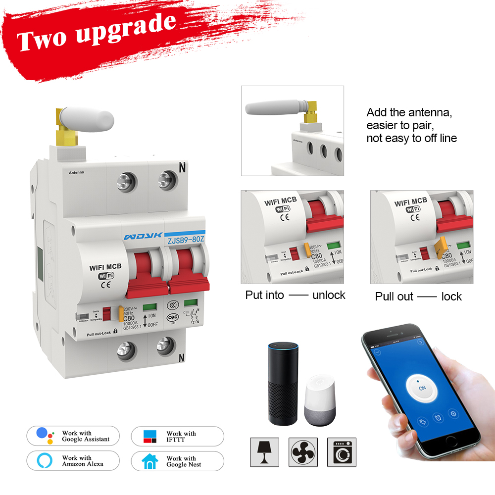 2P 40A WiFi Smart Circuit Breaker Automatic recloser overload and short circuit protection for Amazon Alexa