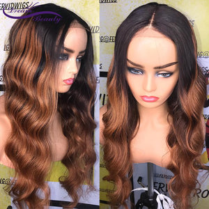 Image 5 - 180% Colored Human Hair Wigs Brown Color Wigs 13X4 Body Wave Remy Preplucked Ombre Brown Lace Front Wig Preplucked Dream Beauty