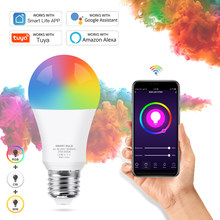Tuya WiFi Smart Light Bulb E27 LED Lamp RGB+White+Warm White Work with Alexa/Google Home Dimmable Timer Function RGB LED Bulb
