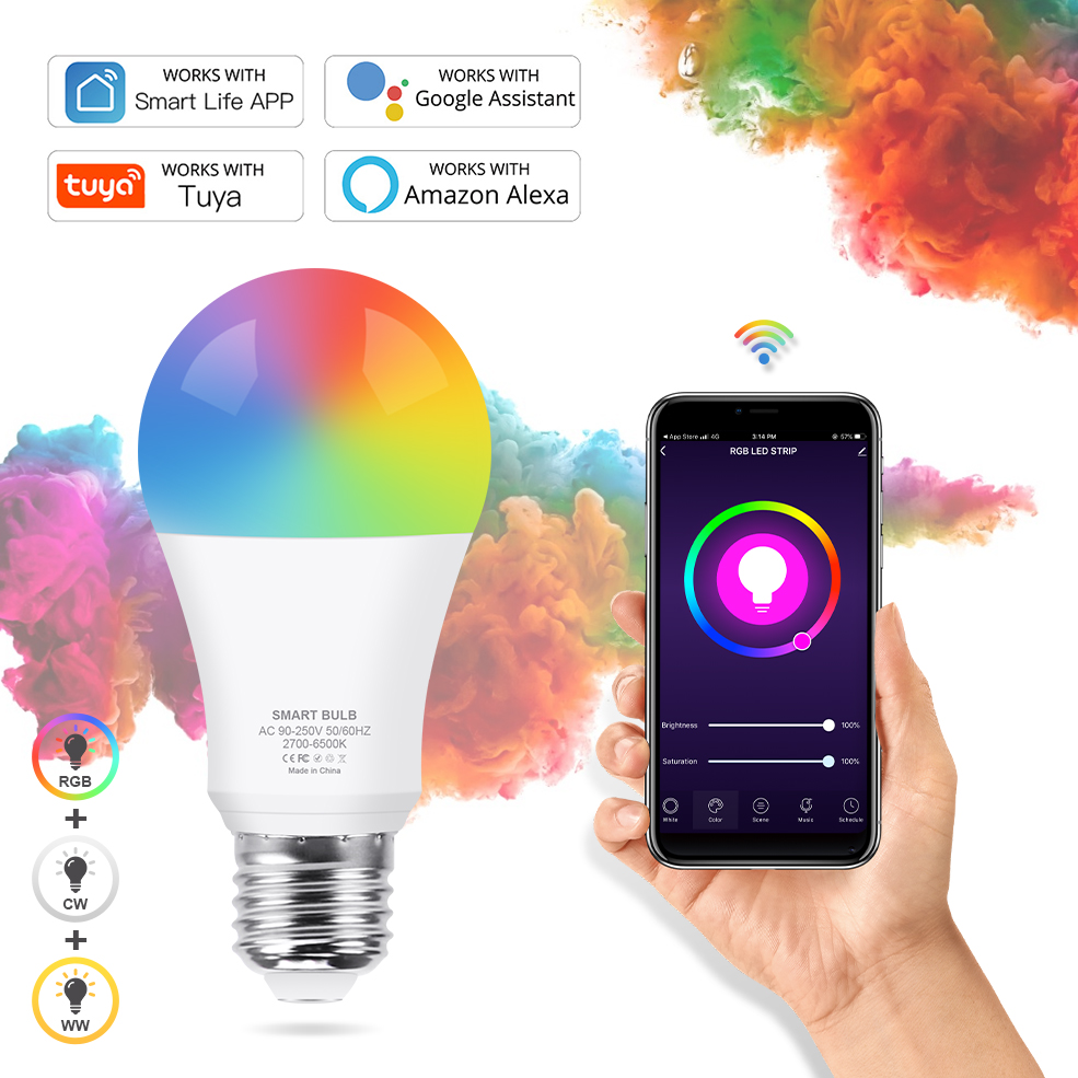 Tuya WiFi Smart Light Bulb E27 LED Lamp RGB+White+Warm White Work with Alexa/Google Home Dimmable Timer Function RGB LED Bulb(China)