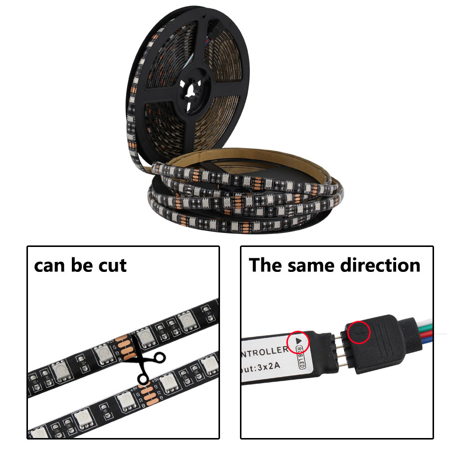 12 V Volt LED Strip Light RGB 5050 Black PCB 1M 2M 60led/m Flexible 12V Led Strip RGB Waterproof Ambilight TV Backlight Ribbon