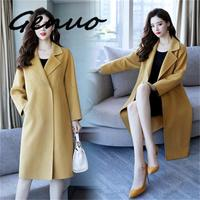 Genuo New 2019 Autumn And Winter New Popular Woolen Coat Ladies Long Section Loose Retro Temperament Woolen Coat Autumn