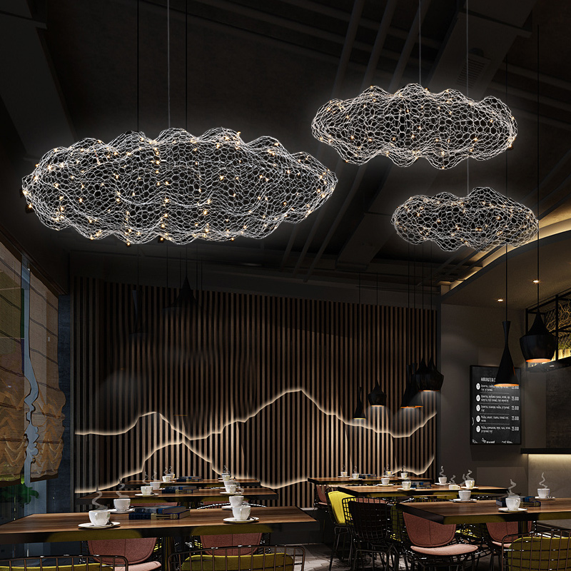 Modern LED Cloud Firefly <font><b>Pendant</b></font> Lamp Starry Personality Led Hanging <font><b>Light</b></font> Mall <font><b>Bar</b></font> Restaurant Art Designer Indoor Luminaire image