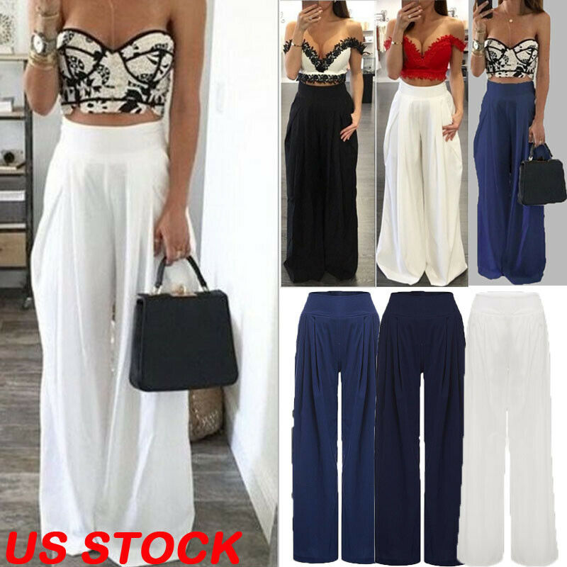 Baggy Women Palazzo High Waist   Wide     Leg     Pants   2019 4 Colors Summer Autumn Casual Elastic Loose Long Trousers pantalon femme
