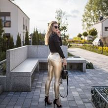 Leggings Seamless Joggers Women Skinny Faux-Leather Melody Compression Metallic Gold