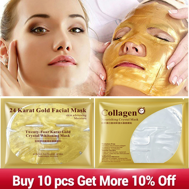 24K Gold Collagen Face Mask Crystal Gold Collagen Facial Mask Moisturizing whitening Anti-aging Face Skin Care Korean Cosmenics