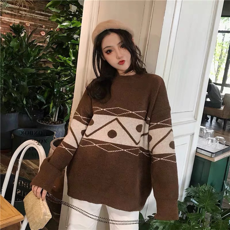 Focal20 Streetwear Geometric Women Sweater Top Loose Crew Neck Female Jumpers Pullovers Casual Spring Autumn Lady Sweaters Tops 4