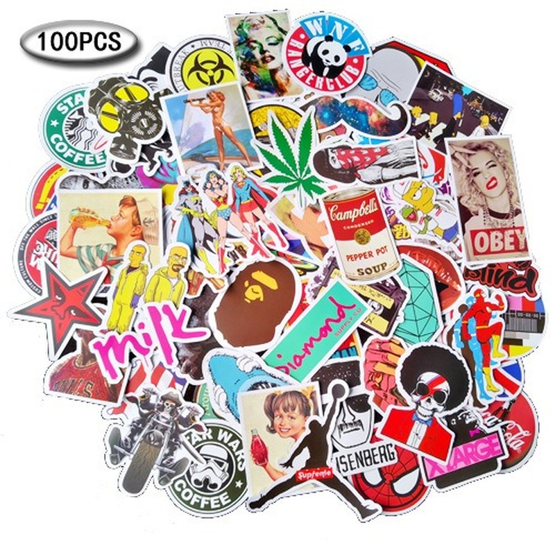 100 Sheets Not Repeating Cartoon Character Animal Anime Graffiti Sticker Suitcase Car Skateboard DIY Sticker Waterproof