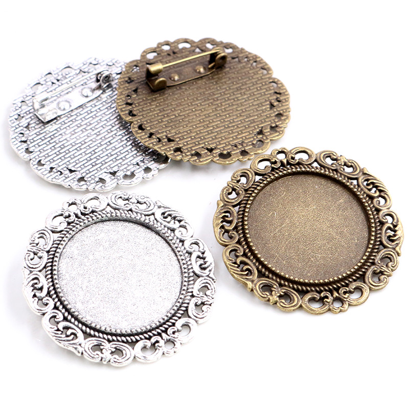 New Fashion 5pcs 25mm Inner Size Antique Silver Plated Bronze Colors Brooch Baroque Style Cabochon Base Setting