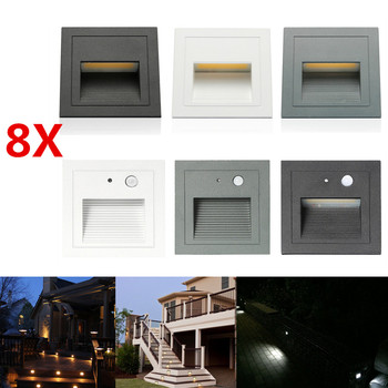 8X Outdoor 3W 85-265V Wall Plinth Staircase Step Light Corridor Corner Lamp Aluminum Recessed Footlight Deck Lights+Embedded Box