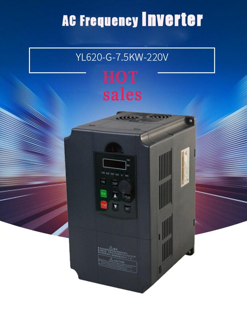 5.5kw/7.5kw 220 v/380 v entrada monofásica e conversor de frequência de saída de 3 fases/movimentação de velocidade ajustável/vfd para o motor do eixo