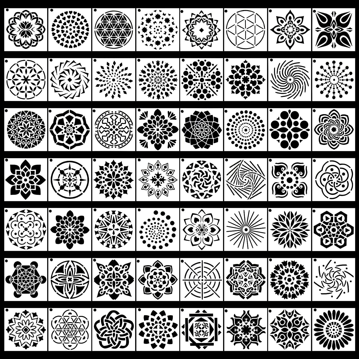 56 Pack Mandala Dot Painting Templates Stencils Perfect For DIY Rock Painting Art Projects 3.6x3.6 Inch 9X9 Cm