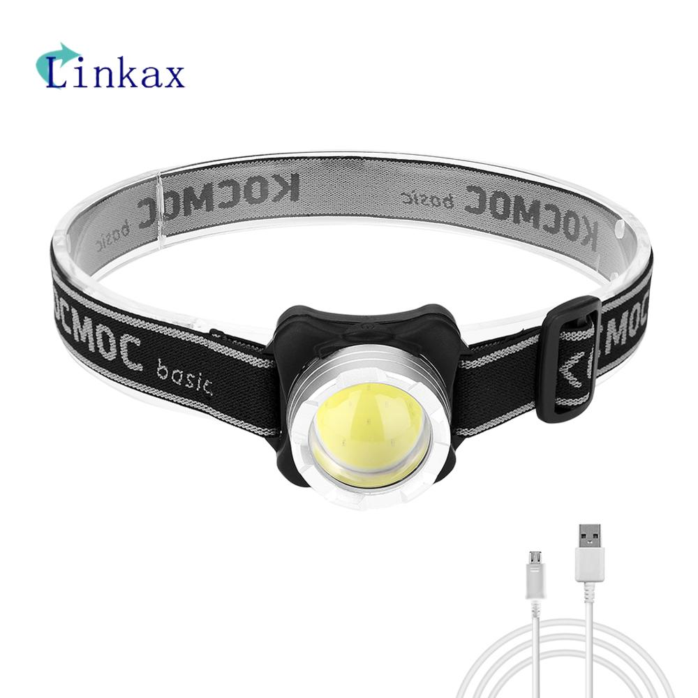 Rechargeable COB LED Mini Headlight 4-Mode USB Charging Headlamp Night Fishing Camping Flashlight Hunting Frontal Head Torch