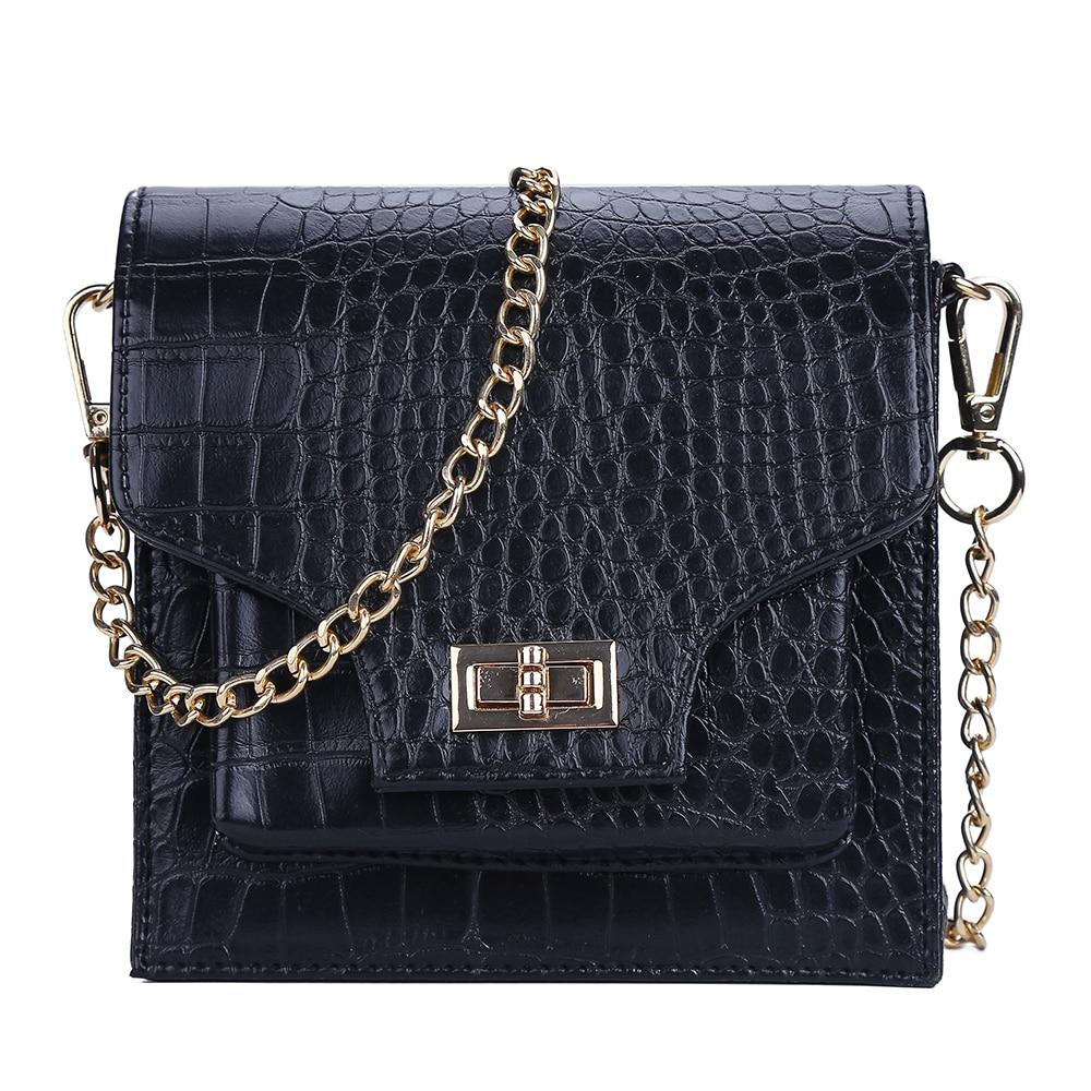 2019 Fashion Women Belt Bag PU Leather Waist Bag Metal CHain Women's Stone Pattern Messenger Shoulder Bags Brand Designer KNW006