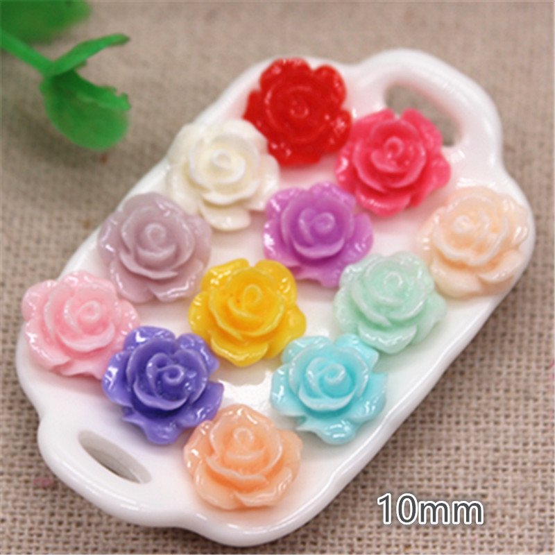 100pcs 10mm Resin Rose Flowers Flat Back Cabochon DIY Jewelry/ Craft Decoration,12 Colors To Choose