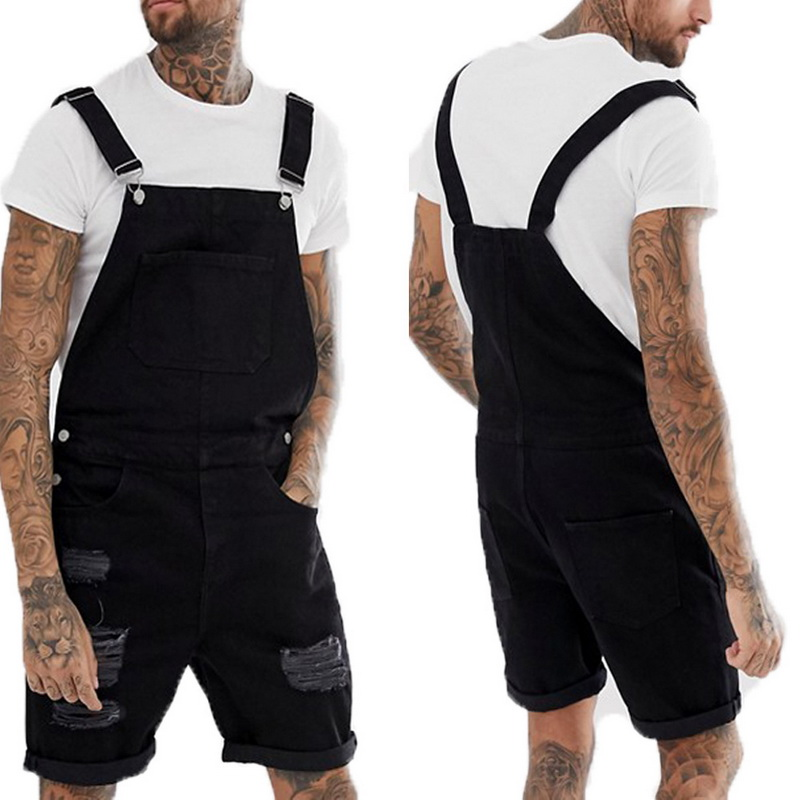 Vogue Summer Men Fashion Blue Black Short Jeans Overalls Hip Pop Ripped Jeans Short Jumpsuit Denim Suspender Pants Nice Pop