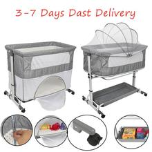 Multi-function Folding 2-layers Baby Crib Infant Cradle Game Bed Sleepy Appease Baby Cot Bed With Wheel Mosquito Net Storage HWC