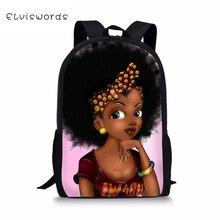 ELVISWORDS Children Fashion Backpack Black Afro Girls Print Pattern School Book Bags Cartoon Designer Students