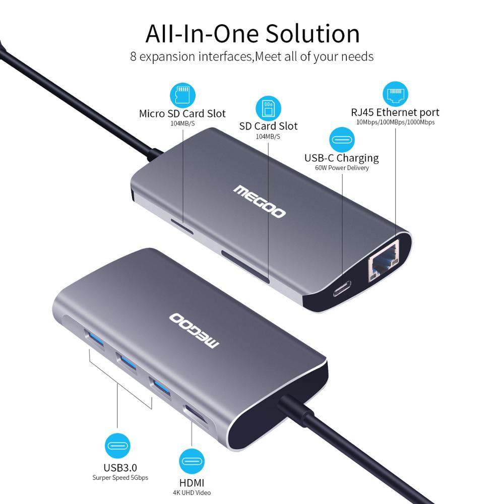 Megoo 8 en 1 USB C Station d'accueil pour ordinateur portable Type C vers VGA/HDMI/Ethernet/USB3.0/PD Station d'accueil de Charge pour Surface Go/Mac Pro - 2