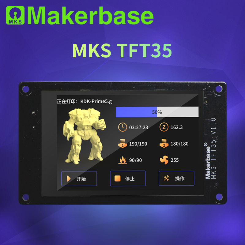 Makerbase MKS TFT35 V1.0 3.5 Inch Touch Screen 3d Printer Parts Insert SD Card USB Disk Side Wifi Control Preview Gcode