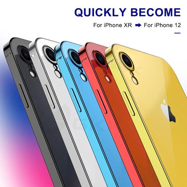 GKK Original luxe placage étui souple pour IPhone XR 12 étui classique bord droit caméra Protection couverture pour IPhone XR 12 Coque