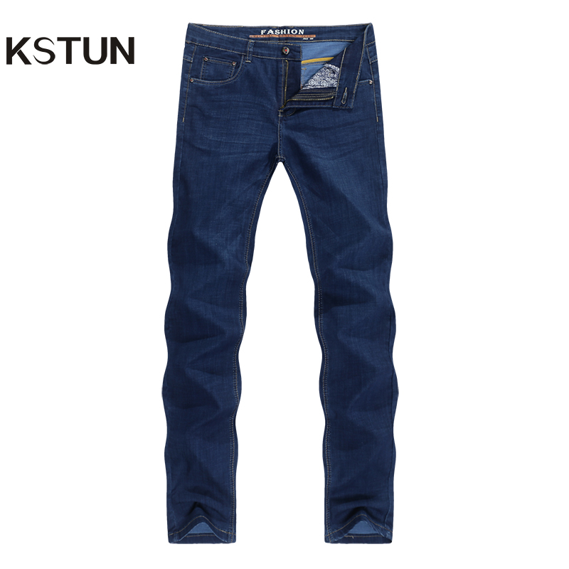 Men's Jeans Stretch Dark Blue Ultrathin Straight Classic Regular Fit Leisure Businessman Long Trousers Male Homme Dropshipping