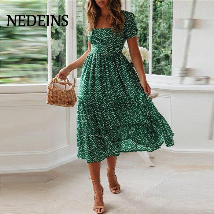 Женское летнее платье в стиле бохо NEDEINS, зеленое повседневное Длинное Элегантное платье для лета 2020