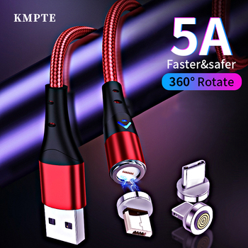 5A Magnetic USB Cable For iPhone Samsung Xiaomi Huawei Micro USB Type C Fast Charging Data Charge Cable USB C Mobile Phone Cable 5a usb type c cable for samsung huawei xiaomi fast super charge type c mobile phone charging wire led usb cable for phone cable