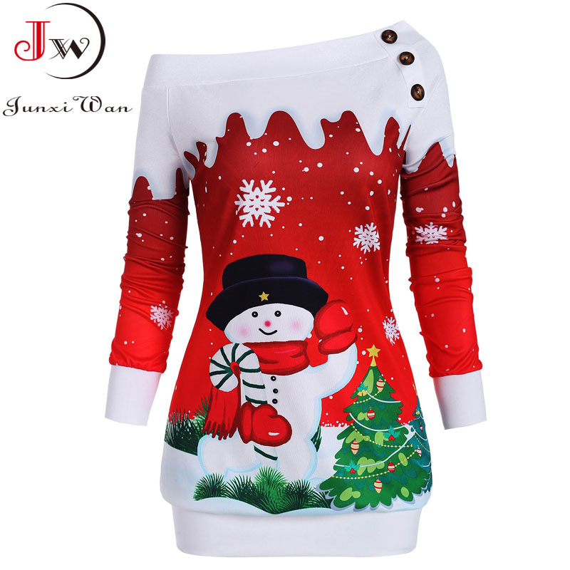Christmas Hoodies Sweatshirts Women Autumn Winter Slash Neck Long Sleeve Snowman Print Pullovers Casual Warm Tops 1