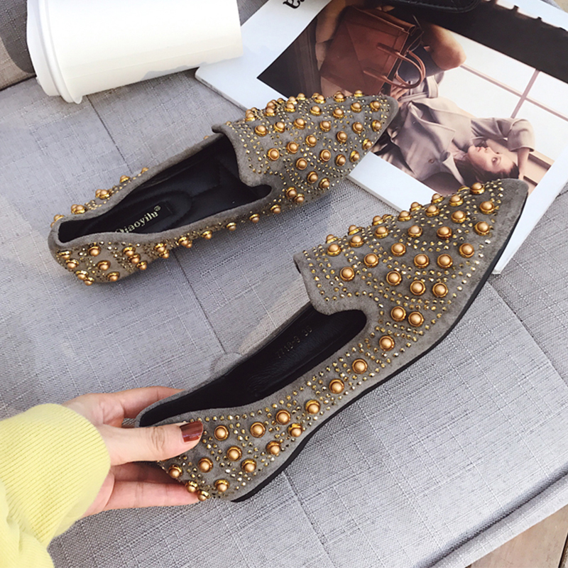 Studs Loafers Pointed Toe Embroider Rhinestone Comfortable Moccasin Flat Shoes