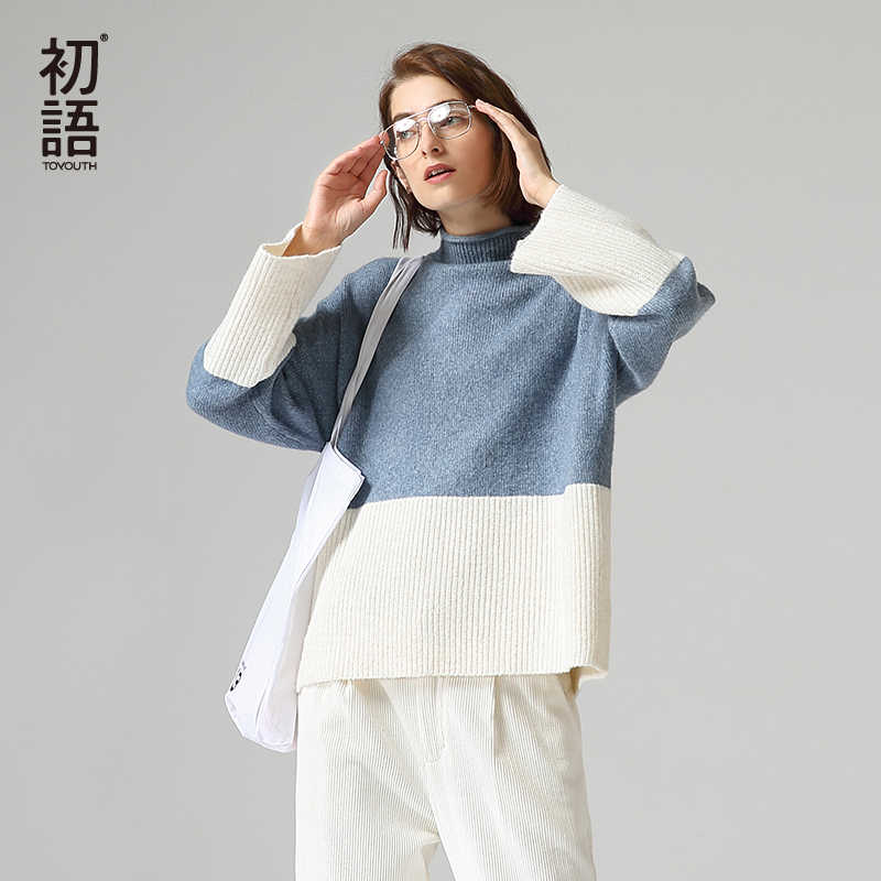 Toyouth Hit Color Long Sleeve Women Sweater Casual Patchwork Turtleneck Pullover Loose Sweater