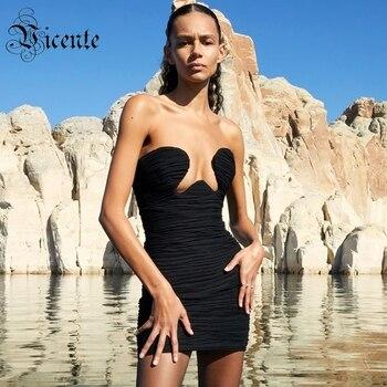 VC All Free Shipping Trendy Draped Design Sexy Strapless Sleeveless Celebrity Party Club Mesh Black Mini Dress Vestido 1