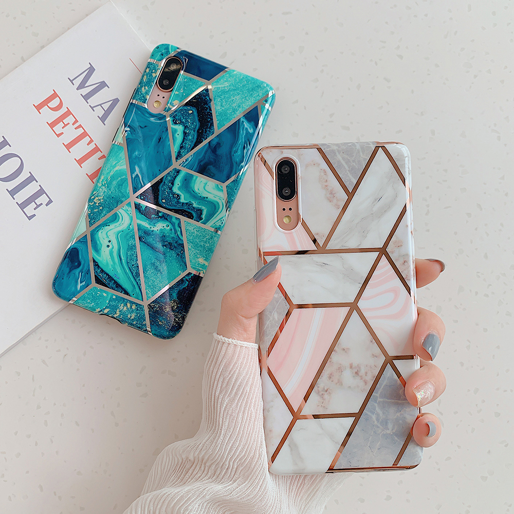 Geometric Marble Phone Case for Huawei P20 P30 Mate 20 Lite Pro Soft IMD Silicone Cover Flower Leaf Pattern Coque