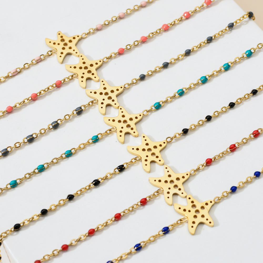 ZMZY 7pcs/set lots Wholesale Bohemian Starfish Charm Mixed Colorful Ocean Beach Beads Bracelet Stainless Steel Chain Bracelet