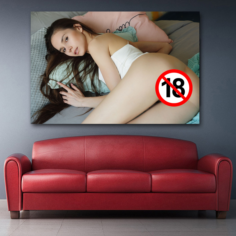Adult Hot Model Sexy Woman beauty Girl on Bed Photo Wall Art Posters Canvas Printed paintings Decoration For Living Room 2