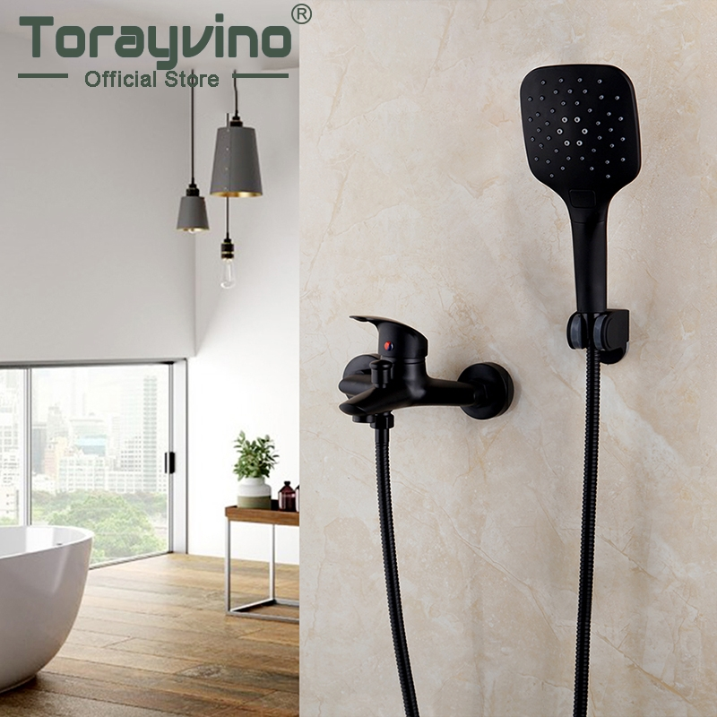 Torayvino Bathroom Bathtub Shower Faucet Set Black Wall Mount Rainfall Shower Head 2 Functions 1 Handle Shower Faucets Mixer Tap