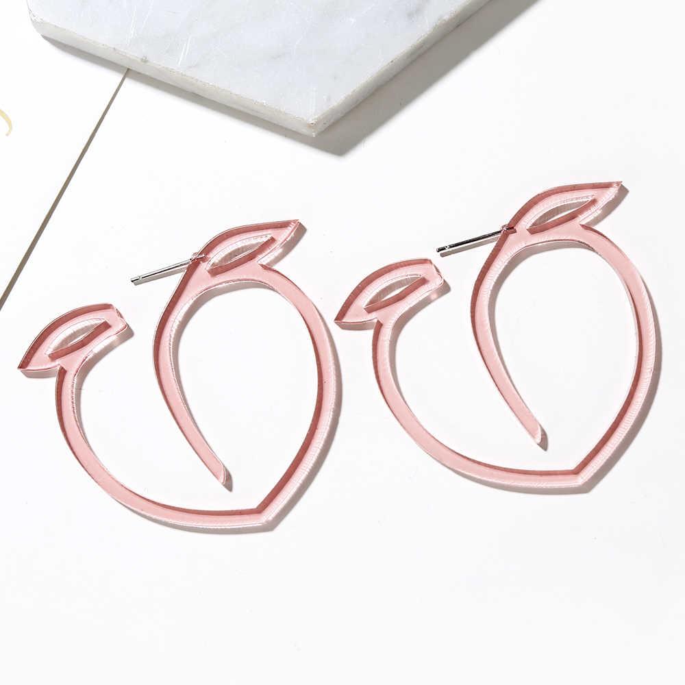 Yaologe Siêu Đáng Yêu Thiết Kế Mới Rỗng Ra Hồng Juicy Đào Acrylic Bông Tai Đinh Lớn Phóng Đại Thoáng Mát Dễ Thương Bông Tai Dành Cho Nữ