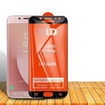 Перейти на Алиэкспресс и купить 2 шт. 21D экрана сотового телефона из закаленного Стекло пленка полный закругленный протектор экрана для samsung A5 A6 A6Plus A7 A8 A8Plus A9 (2018)/A6S A8S A9S