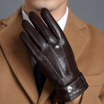 Genuine Leather Gloves Male Touch Screen Winter Warm Plus Velvet Thicken Driving Motorcycle Men Sheepskin Gloves MLZ108 genuine leather gloves men winter warm plus velvet thick sheepskin fashion new driving leather gloves gr 206 5