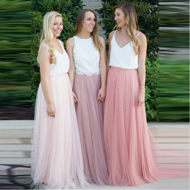 Long Tulle Bridesmaid Dress Candy Color Woman Dresses For Party And Wedding Plus Size Vestido Azul Marino Wedding Guest Dress