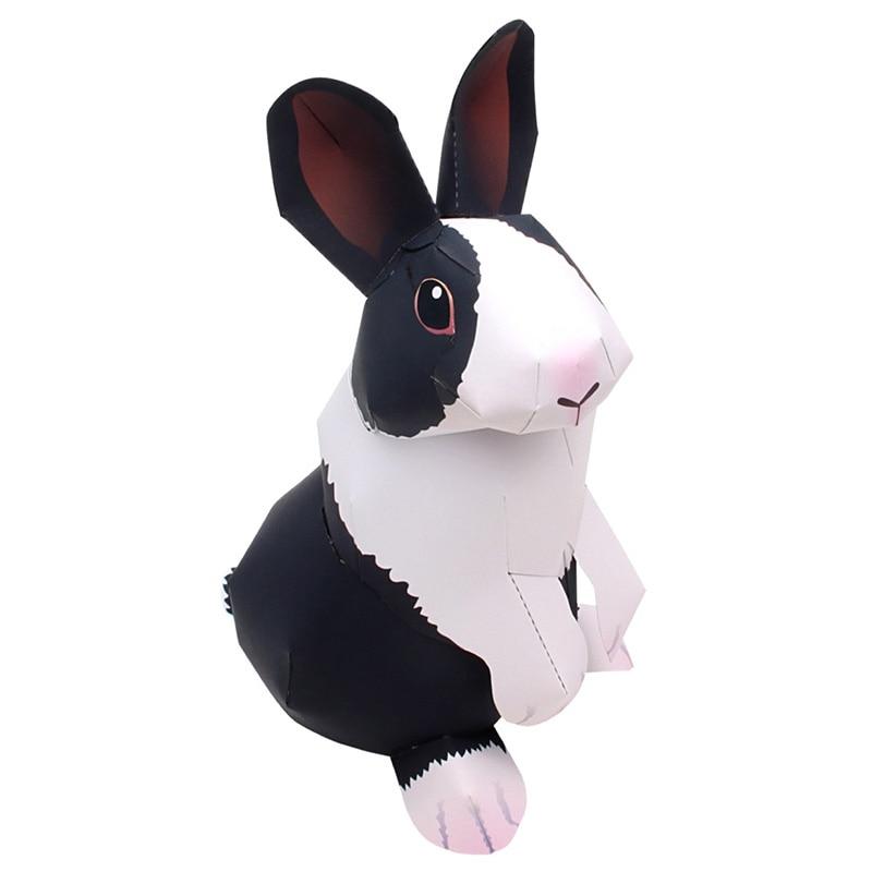 Dutch Rabbit Folding Cutting Mini Cute 3D Paper Model Papercraft Pet Animal Figure DIY Kids Adult Craft Toys QD-051