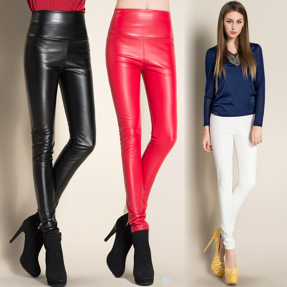 #0516 Spring Autumn Skinny Faux Lether Pants Women Black Red Siliver Gold High Waist Stretch PU Leather Trousers Full Length