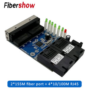 Ethernet Fiber switch 4 RJ45 2 SC Optical Media Converter Single Mode fiber Port PCB 10/100M(China)