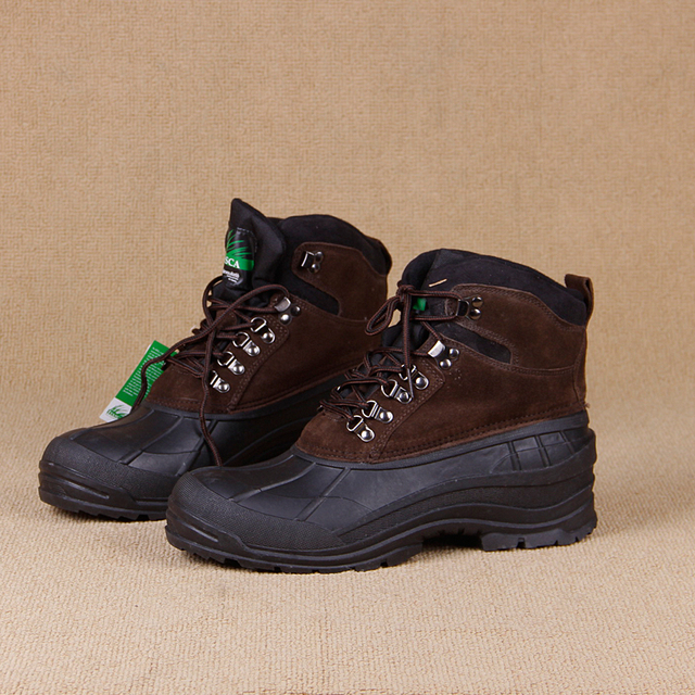 Men`s winter Nubuck Leather hiking shoes mens 200g thinsulate waterproof walking trekking mountaineering shoes for-30C 1