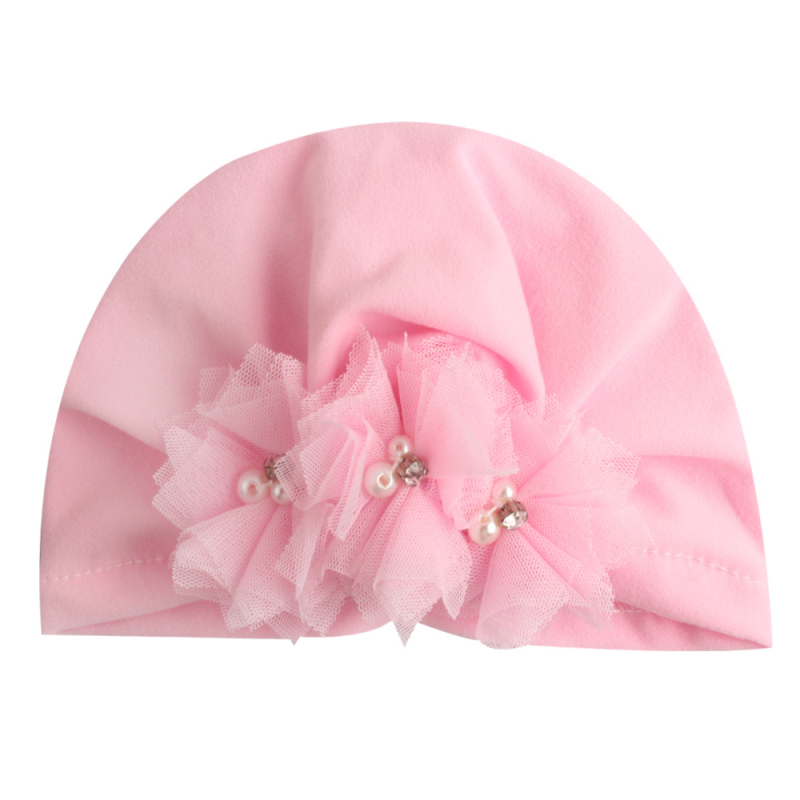 Baby Cap Hat Elastic Soft Hat Baby Turban Lace Floral Hats Girls Cotton Infant Beanie Cap For Baby Girls Hair Accessories