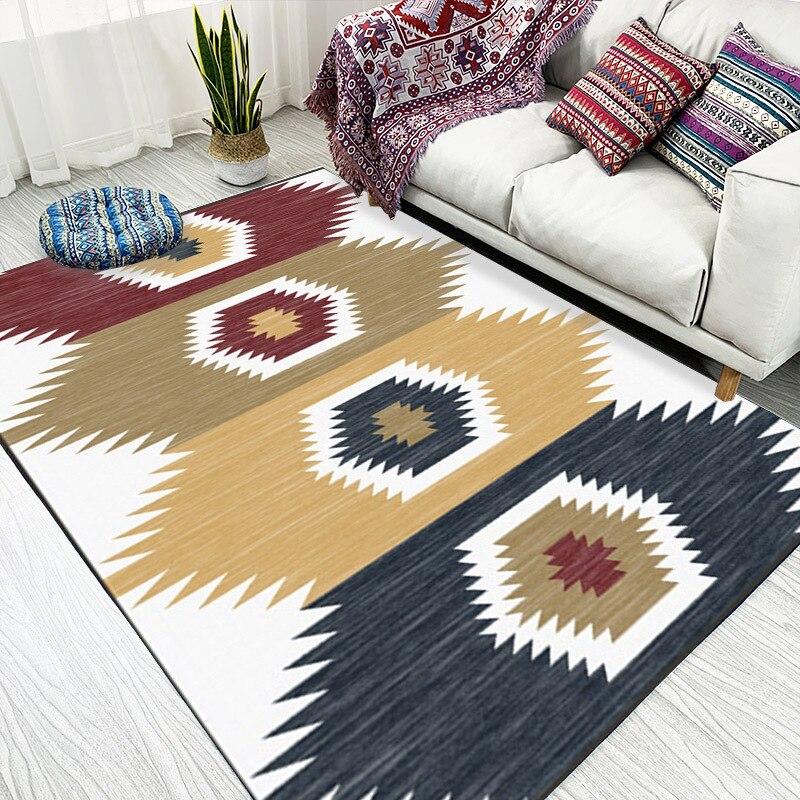 Скандинавский модный ковер в японском стиле, синий, коричневый, розовый полосатый коврик для гостиной, спальни, бархатный нескользящий ковр