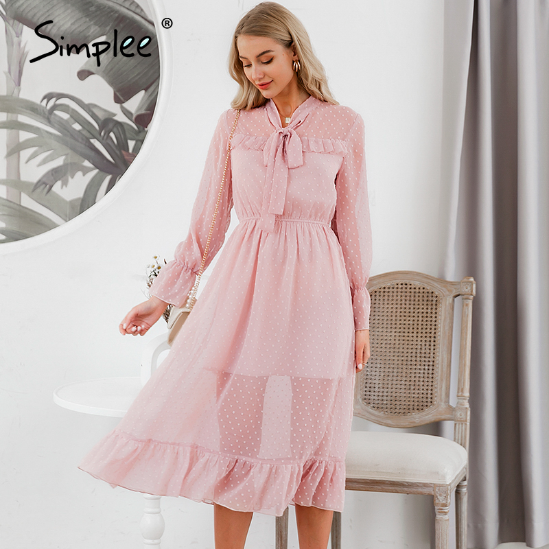 Simplee Hollow Out Women Party Dress Casual Ruffled High Waist Bow Long Sleeve Maxi Dress Chic Ladies Holiday Work Summer Dress