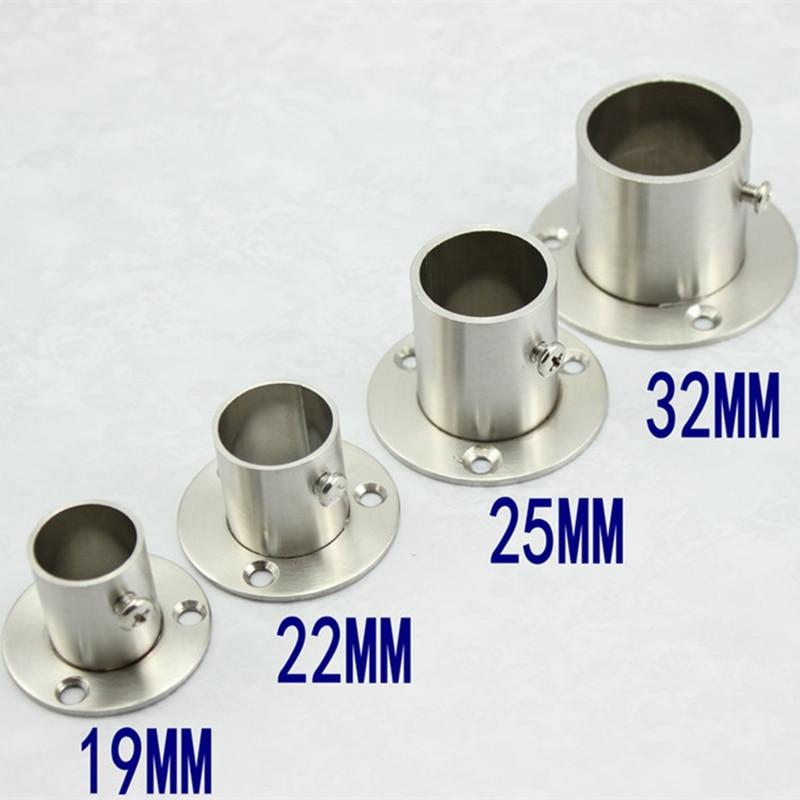 2 шт./лот кронштейн для труб из нержавеющей стали 19-32 мм Диаметр опорная труба седло фланца для гардероба подвесной рельсовый стержень полюс ...
