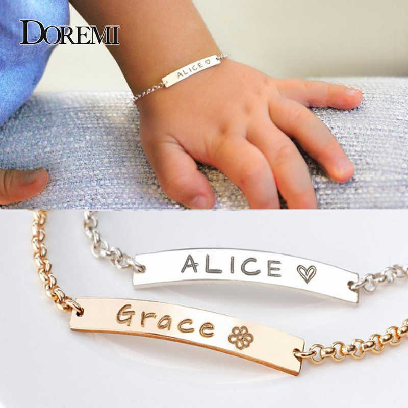 Metoo Gold/Silver Bracelet baby custom name stainless steel chain bracelets for women bracelet femme bangle