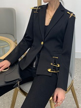GetSpring Women Blazer Single Button Long Sleeve Women's Slim Suit Jacket Pin Stitching Irregular Ladies Black Blazer Autumn New
